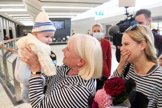 Grandmother Janet Callaghan meets grandson three-month-old Finn for the first time along with Janet's daughter Jo Mangos.