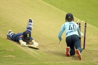 Mithali Raj, left, in action against England in  June.