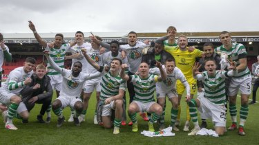 Head and shoulders: Celtic are champions of Scottish football yet again.