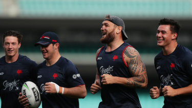 Jared Waerea-Hargreaves runs with teammates at the SCG on Monday.