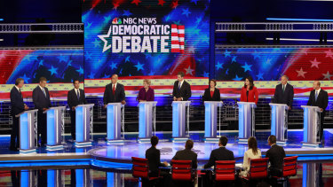 The debating field on the first of two Democrat debating nights for the 2020 presidential nomination.