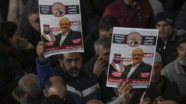Funeral prayers in absentia for Saudi writer Jamal Khashoggi in Istanbul on Friday.