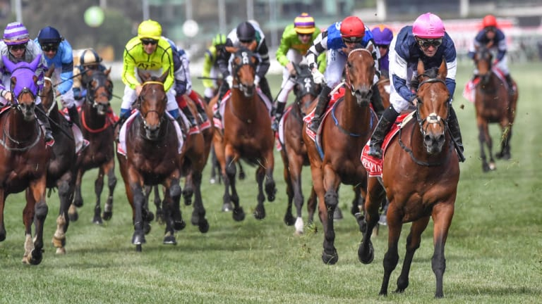 Corey Brown rides Rekindling to win the 2017 Melbourne Cup.