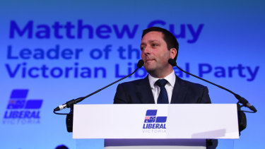 Opposition Leader Matthew Guy at his campaign launch on Sunday.