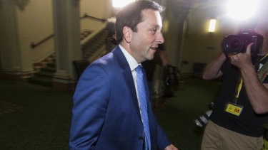 Former leader Matthew Guy leaves the Liberal party room on Thursday.
