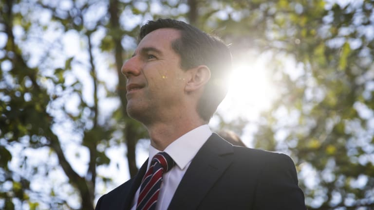 Simon Birmingham visits Alfred Deakin High School in Canberra earlier this month.