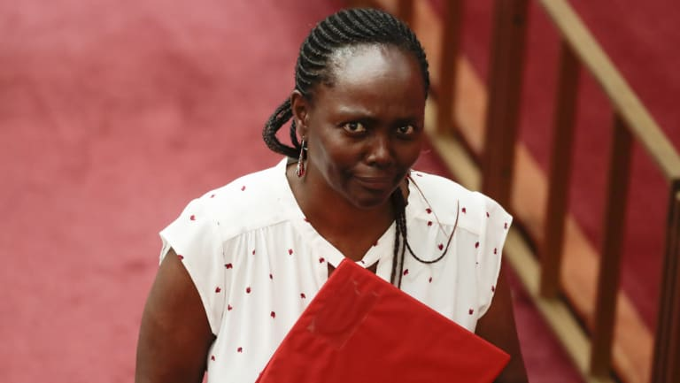 Senator Lucy Gichuhi arrives in the Senate on Tuesday.