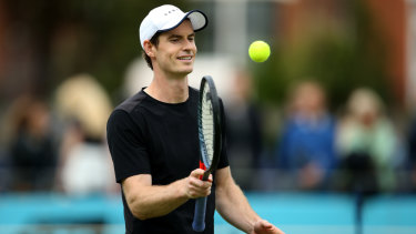 Andy Murray during a practice session ahead of a doubles return at Queen's Club.