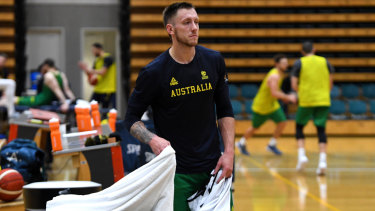 Mitch Creek at a Boomers squad training session earlier this week.