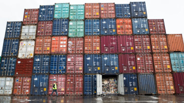 All of these containers are filled with tonnes of waste, abandoned by insolvent recycler SKM Corporate.