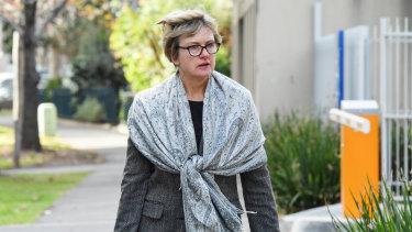 Professor Jo Douglass outside court on Monday.