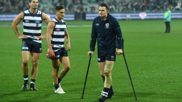 Patrick Dangerfield on crutches after the win over the Bulldogs.