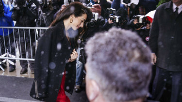 Amal Clooney, human rights lawyer and wife of actor George, attending the shower in a snowy NYC.