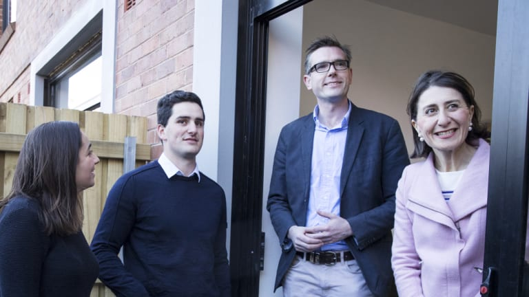 Premier Gladys Berejiklian and Treasurer Dominic Perrottet meet with first home buyers Emma Di Francesco and Daniel George in Marrickville