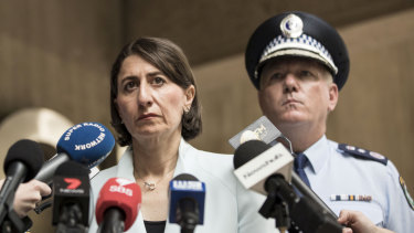NSW Premier Gladys Berejiklian and NSW Police Force Commissioner Michael Fuller speak to the media after the terrorist attack in Christchurch.