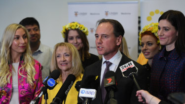 Federal Health Minister Greg Hunt at the launch of the the National Action Plan for Endometriosis last year.
