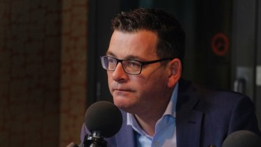 A dejected Premier Daniel Andrews, pictured in the ABC Melbourne studios on Sunday.