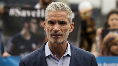Support: Former Socceroos player Craig Foster at a rally in support of refugee footballer Hakeem AlAraibi who is being held in jail in Thailand.
