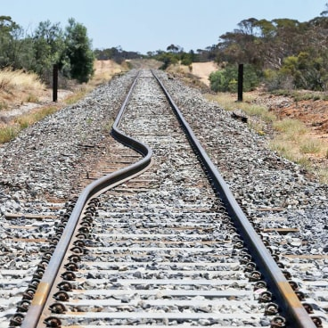The piece of railway track bent in 40-degree heat.