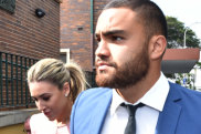 Manly player Dylan Walker enters Manly Local Court on Tuesday morning