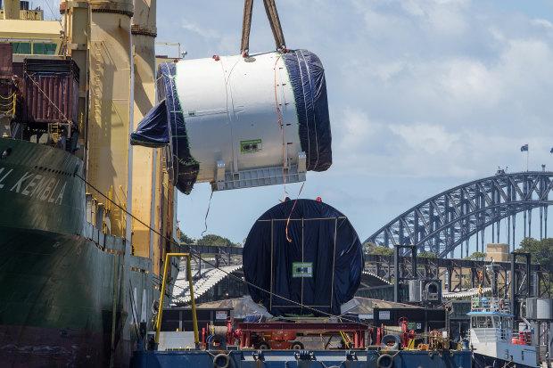 Kathleen on her arrival to dig under Sydney Harbour.