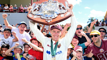 BRISBANE, AUSTRALIA - APRIL 18: Marnus Labuschagne of Queensland celebrates victory during day four of the Sheffield Shield Final match between Queensland and New South Wales at Allan Border Field on April 18, 2021 in Brisbane, Australia. (Photo by Bradley Kanaris/Getty Images)