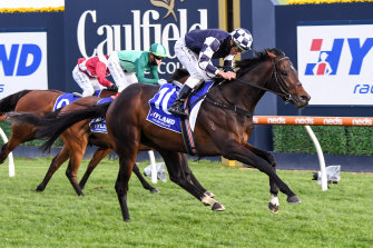 Russian Camelot won the Underwood Stakes with jockey Damien Oliver on Saturday.