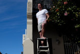 Undie-cover operator: Stephen Barrett can now climb ladders at work with no fear.