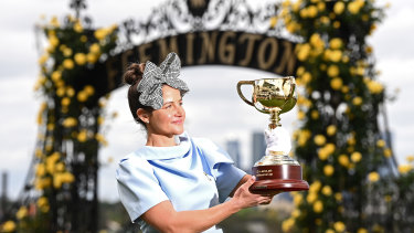 Michelle Payne with the Melbourne Cup.