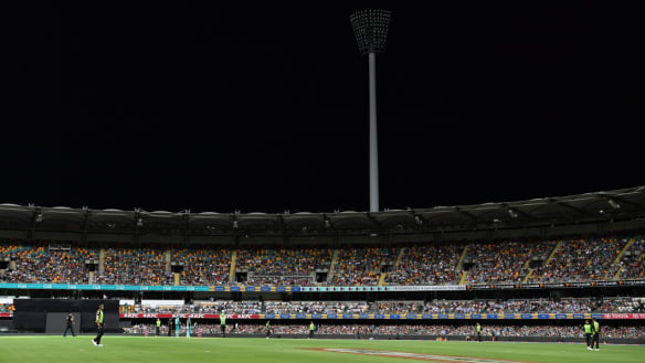 The Lights are seen to be out on the grandstand at the Stanley Street end of the Gabba during the Big Bash League (BBL) match between the Brisbane Heat and the Sydney Thunder at The Gabba in Brisbane.