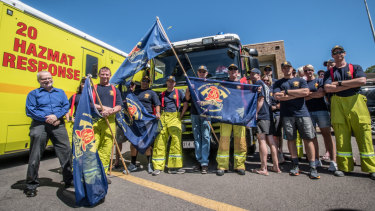 United Firefighters Union ACT branch secretary Greg McConville, left, with firefighters outside Fyshwick Fire Station on Thursday morning.