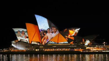 A preview of the Opera House's illuminated sails, which will be lit up on Thursday night.
