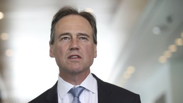 """Greg Hunt was """"deeply concerned"""" about the donation from Mr Woodman."""