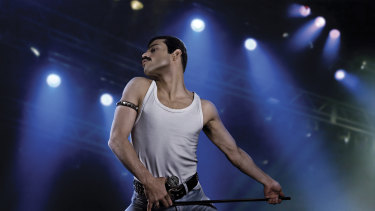 Rami Malek as the rock icon Freddie Mercury in Bohemian Rhapsody.