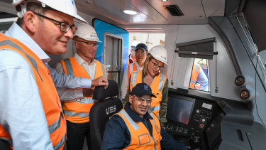 Premier Daniel Andrews and Public Transport Minister Jacinta Allan inspect a new high-capacity train.