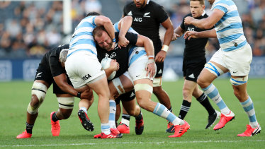 Blue wall: The Pumas cut down another All Blacks runner.