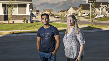 Refugee Mohammad Noor in Salt Lake City, Utah, with Australian expat Maree de Marco.