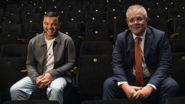 Prime Minister Scott Morrison with singer Guy Sebastian (left) at the announcement of a $250 million arts rescue package.