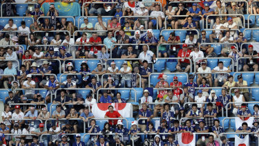 Japan supporters watch the group H match between Japan and Poland at the Volgograd Arena.