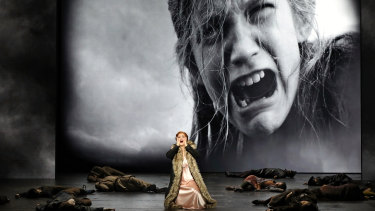 Natalie Aroyan on stage in Opera Australia's production of Attila. It was the last performance before the shutdown.