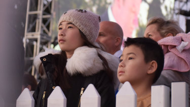 Young attendees observe the Dawn Service proceedings.