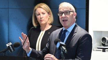 Former sex discrimination commissioner Elizabeth Broderick and Sydney University vice-chancellor Michael Spence.