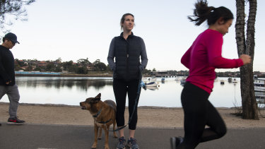 """""""Every time you have a bit of a run-in at least once or twice because people are on their phones"""": Shelley Casey with her dog Hugo at the Bay Run in Lilyfield."""
