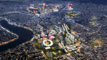 An artist's impression of Brisbane's proposed 2032 Olympic Games venues.
