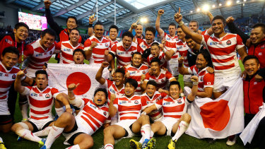 Start of something big: Japan celebrate victory over South Africa after the famous Miracle of Brighton in 2015.