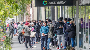 It is hoped massive spending by federal and state governments reduces lines outside Centrelink and keeps the jobless rate at less than 10 per cent.