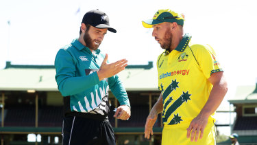 New Zealand captain Kane Williamson and Aussie skipper Aaron Finch on Thursday before the three-match series.