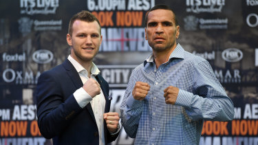 Fighting words: Jeff Horn and Anthony Mundine at the pre-bout press conference.