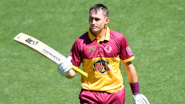 Another day at the office: Labuschagne is dismissed after scoring a century for Queensland against South Australia, continuing his form from the Ashes.
