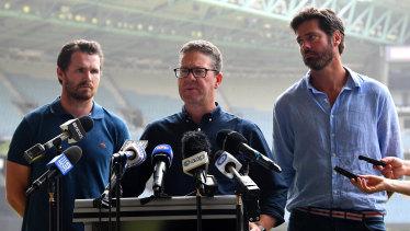 AFLPA president Patrick Dangerfield, chief executive Paul Marsh and league boss Gillon McLachlan.
